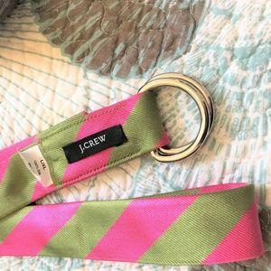 J. Crew Accessories - 💰2 for $20 J Crew 100% Silk Tie Belt Pink Green